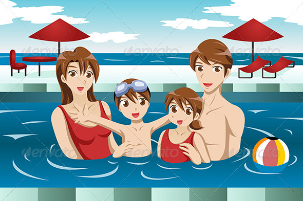 GraphicRiver Family in a Swimming Pool 7070117