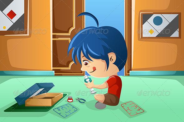 Kid Assembling a Robot