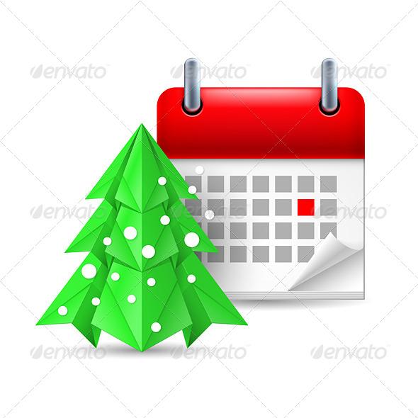 GraphicRiver Paper Pine Tree and Calendar 7070252