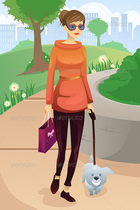 GraphicRiver Woman Walking with her Dog 7070512