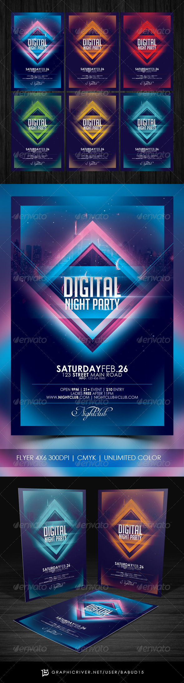 GraphicRiver Digital Night Party Flyer Template 7070963