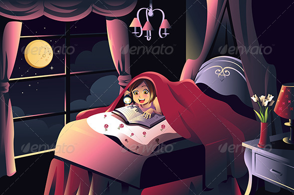 GraphicRiver Girl Reading a Book in the Bedroom 7073366