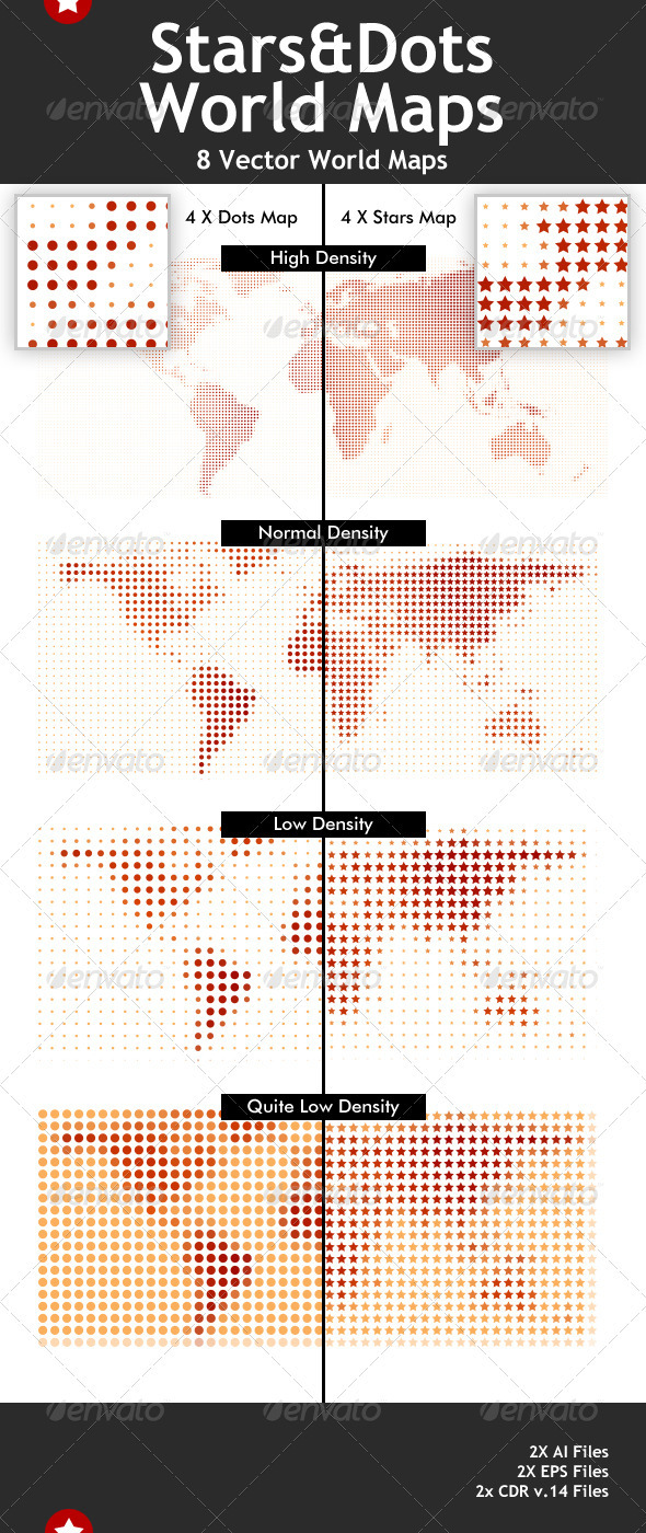 Stars & Dots Vector World Maps