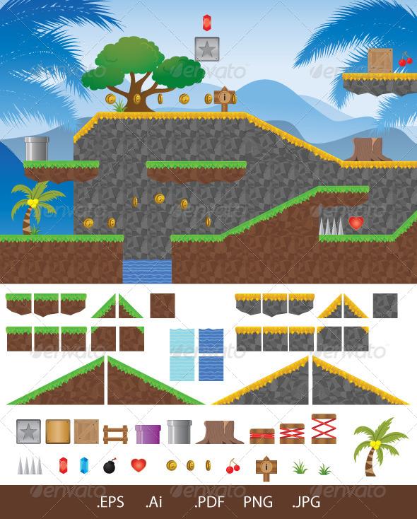 GraphicRiver Platform Game Tropical 7073823