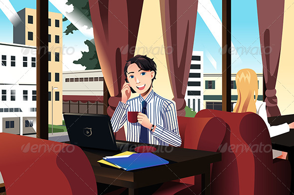 GraphicRiver Businessman Talking on the Phone 7073824