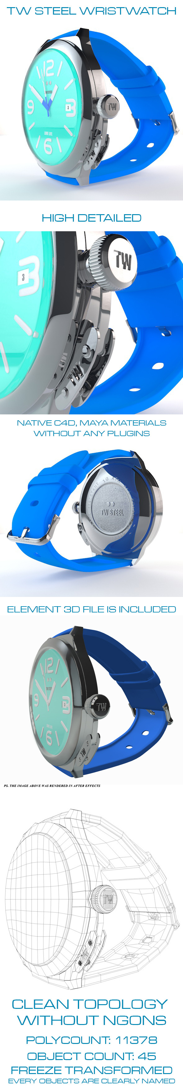 3DOcean TW Steel Wristwatch TW915 7073882