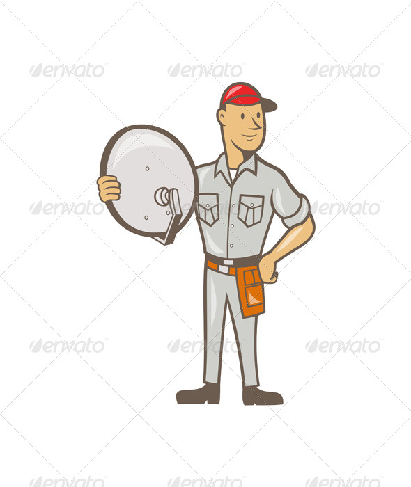 GraphicRiver Cable TV Installer Guy Standing 7073890