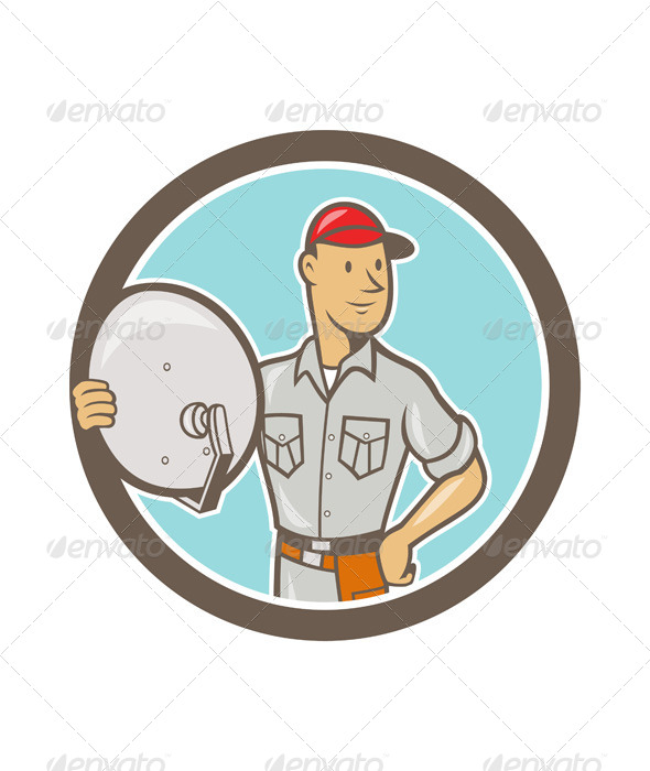 GraphicRiver Cable TV Installer Guy Cartoon 7073894