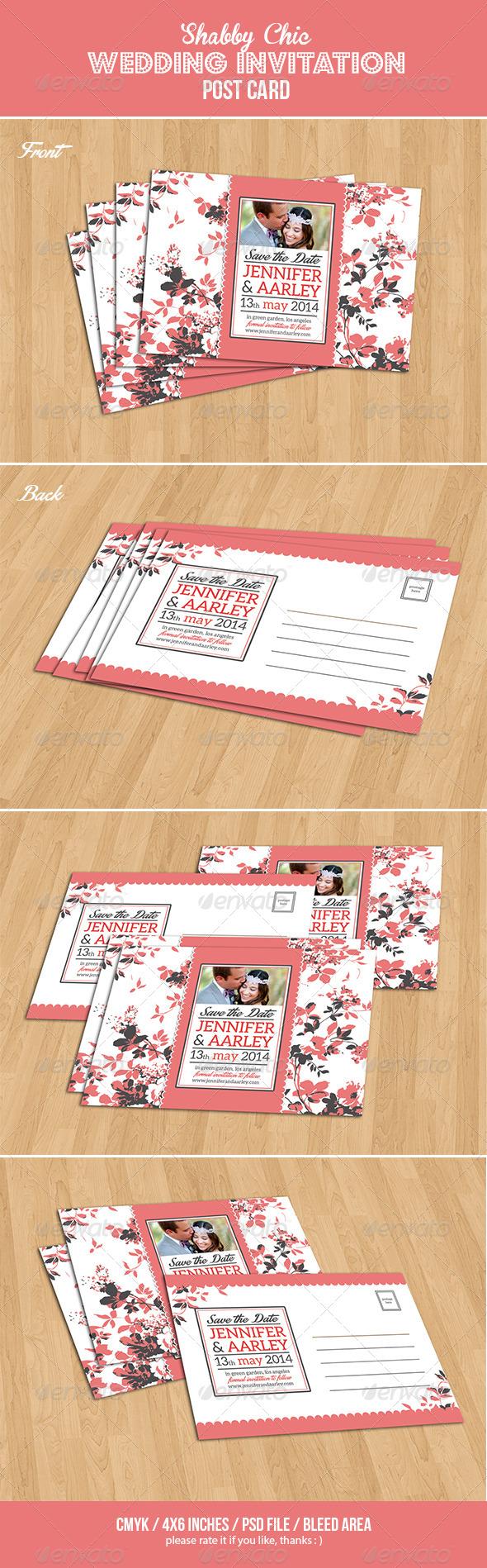 GraphicRiver Shabby Chic Wedding Invitation Post Card Vol.2 7077659