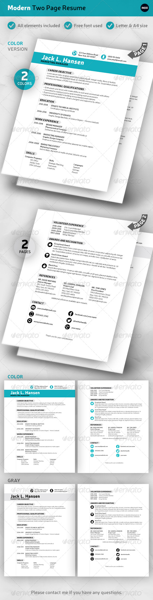 GraphicRiver Modern 2-Page Resume 7077827