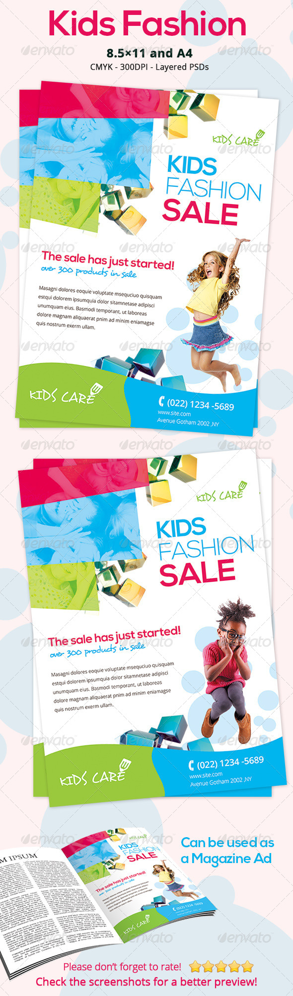 GraphicRiver Colorful Kids Fashion Flyer 7078212