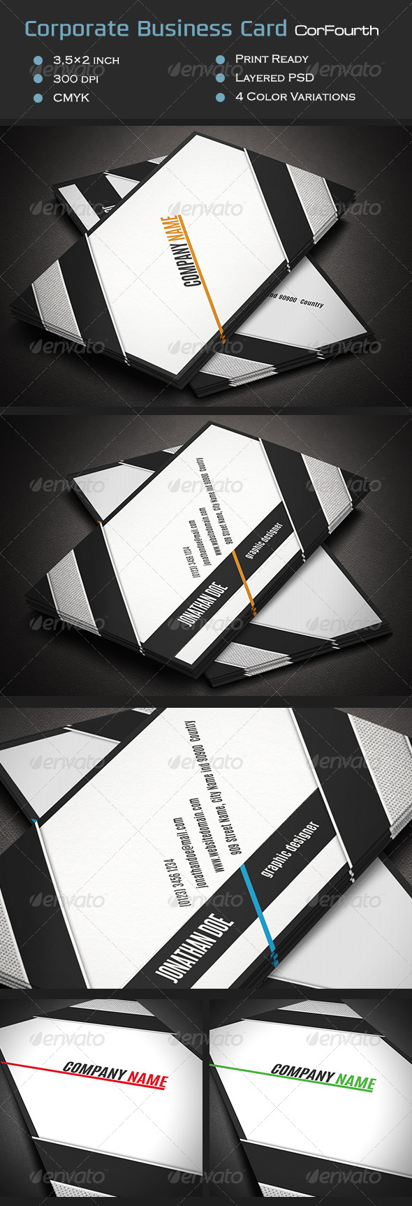 GraphicRiver Corporate Business Card CorFourth 7078381