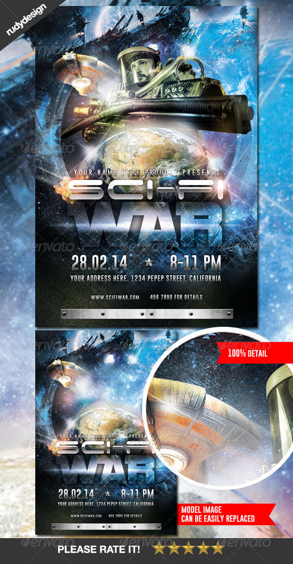 GraphicRiver Science Fiction Space War Flyer Design 7060260