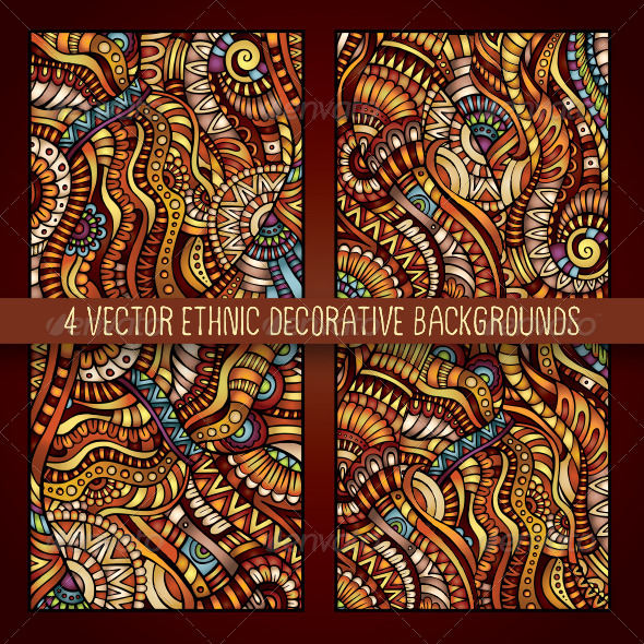 4 Decorative Ornamental Ethnic Backgrounds