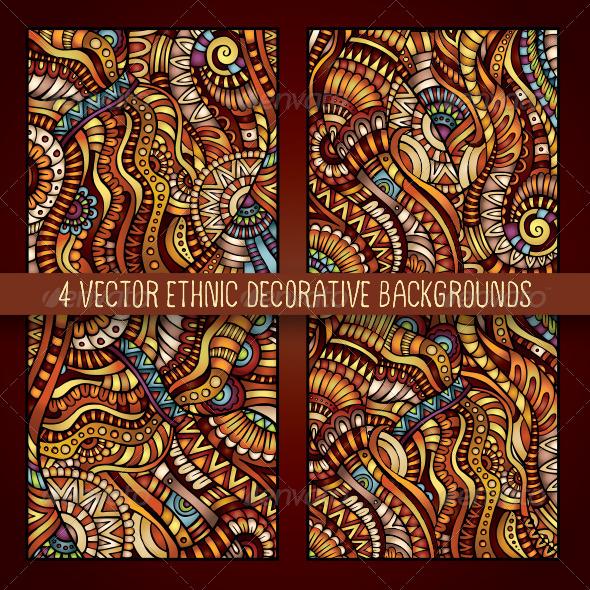 GraphicRiver 4 Decorative Ornamental Ethnic Backgrounds 7078754