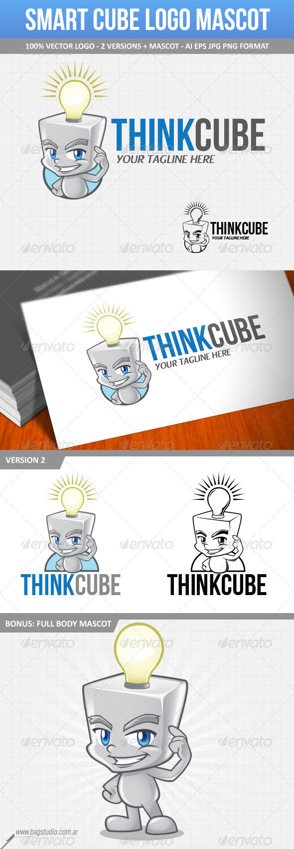 GraphicRiver Smart Cube Vector Logo Mascot 7079353