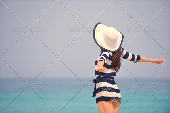 Happy Beautiful Woman Enjoying Summer Vacation - Stock Photo - Images