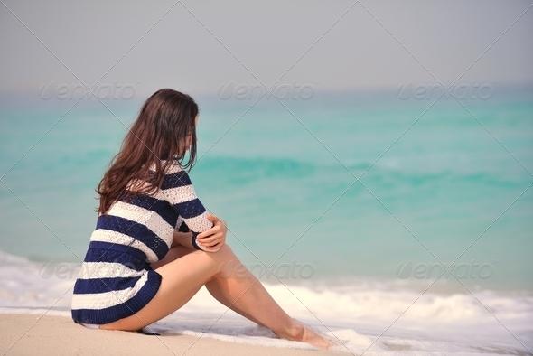 Happy Beautiful Woman Enjoying Summer Vacation - Stock Photo - Images