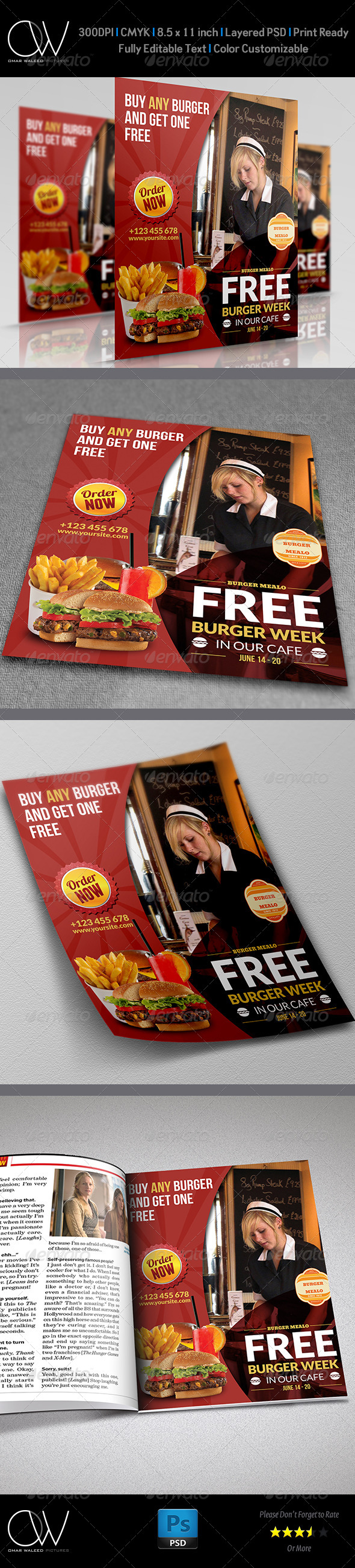 GraphicRiver Burger Restaurant Flyer Template Vol.4 7082090