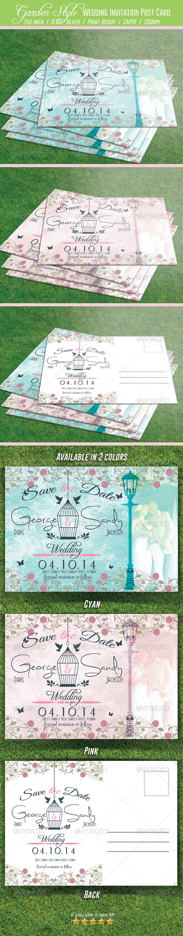 GraphicRiver Garden Style Wedding Invitation Post Card 7082102