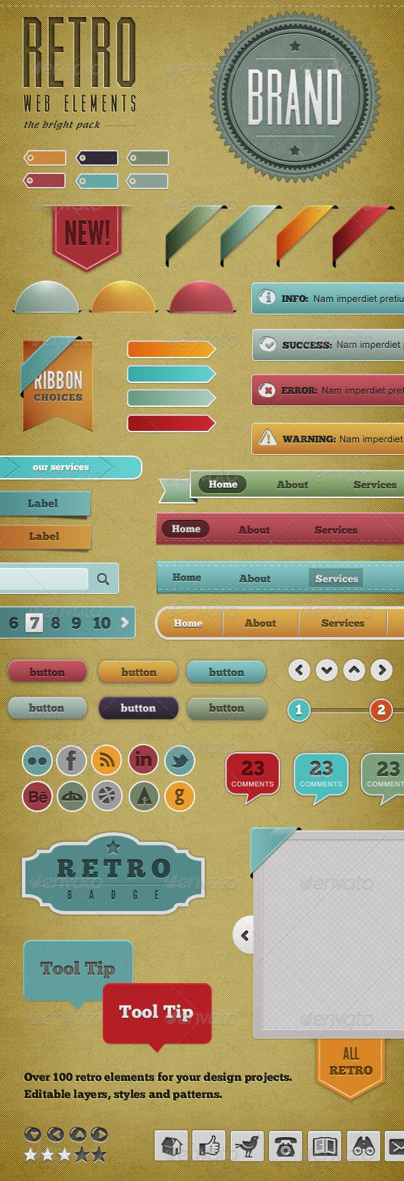 GraphicRiver Retro Web Elements Bright Pack 743187