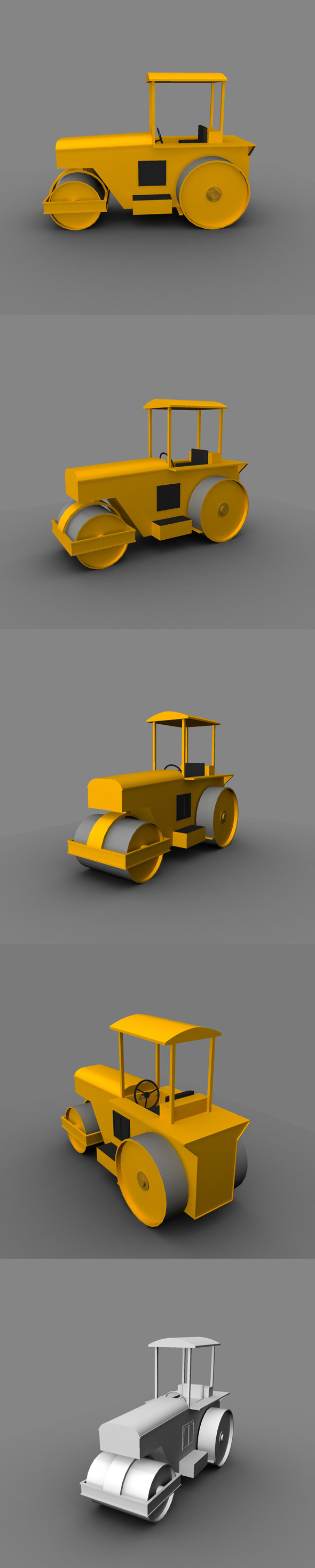 Low Poly Road Roller - 3DOcean Item for Sale