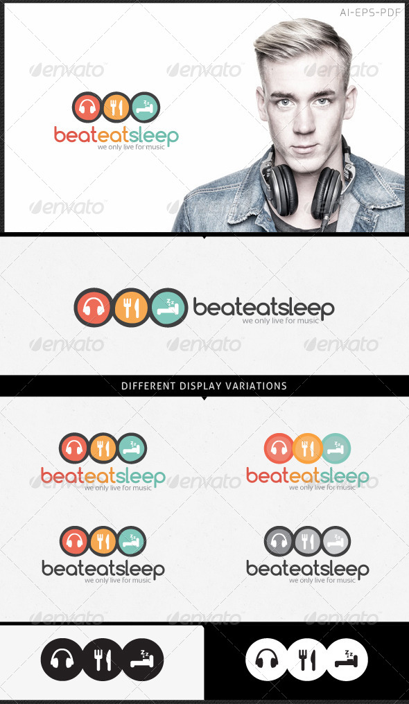 GraphicRiver Music Logo Beat Eat Sleep 5377357