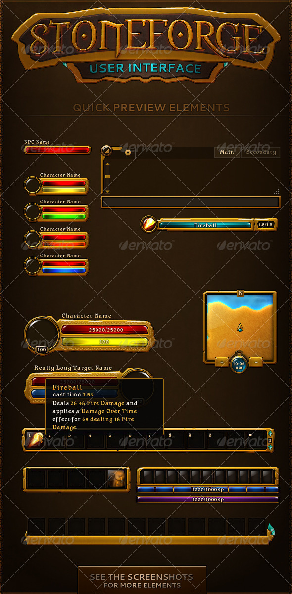 GraphicRiver Stoneforge Gaming UI 7084427