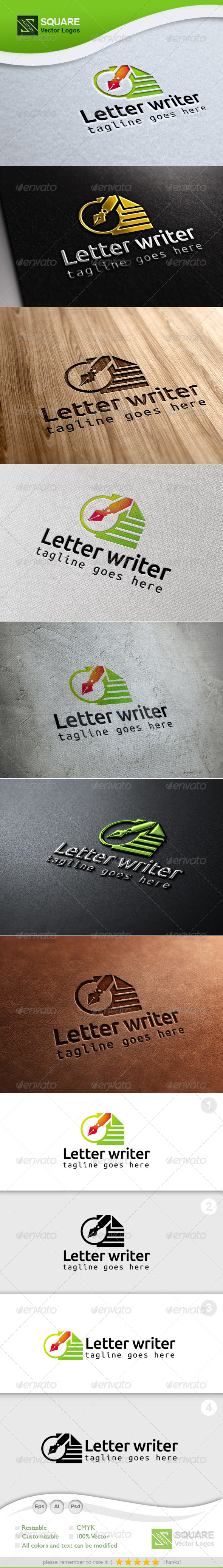 Letter Pen Vector Logo Template