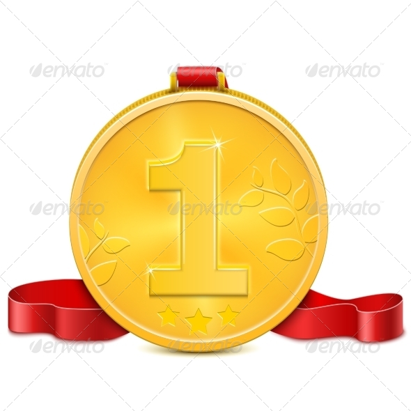 GraphicRiver Gold Medal With Red Ribbon 7084899