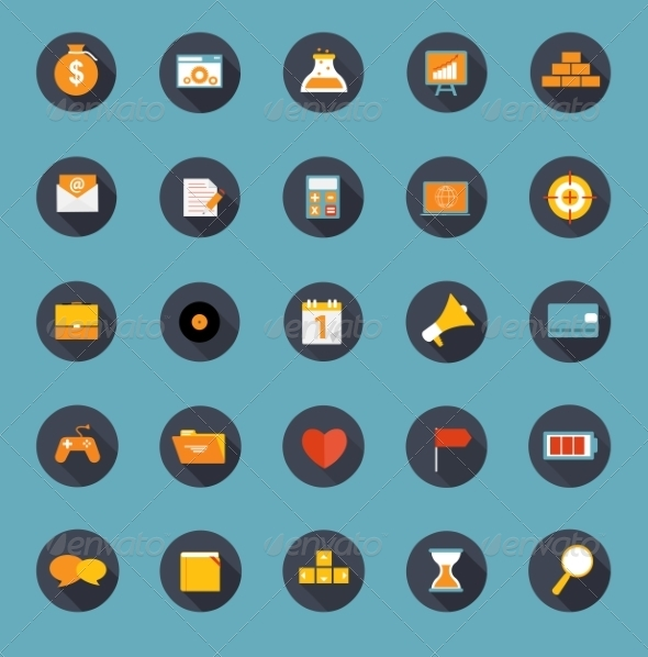 GraphicRiver Set of Flat Icons Vector Illustration 7084991