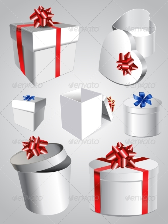 GraphicRiver Set of Colorful Gift Boxes With Bows And Ribbons 7085310