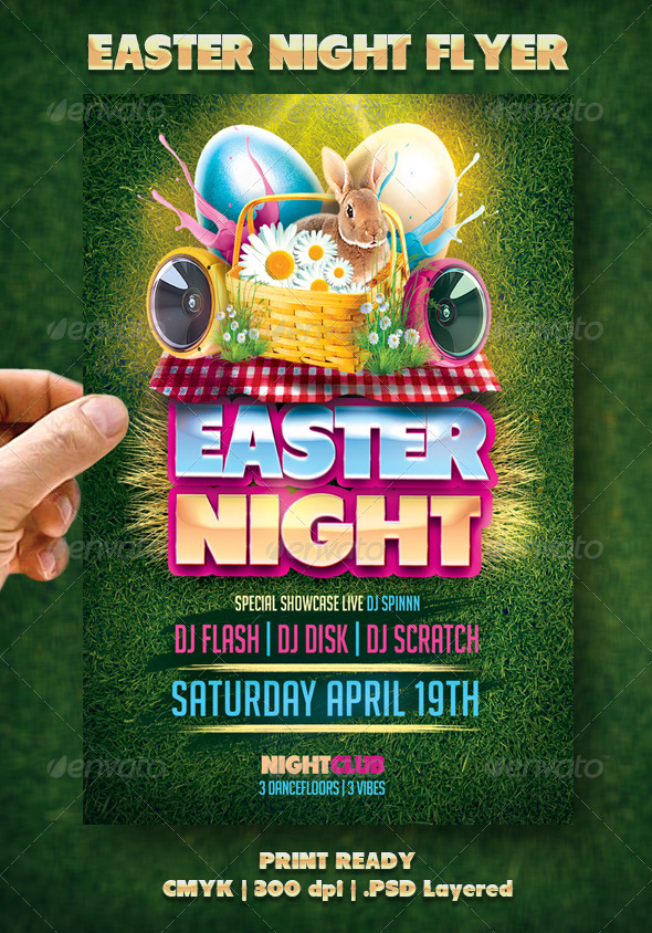GraphicRiver Easter Night Flyer 7085967