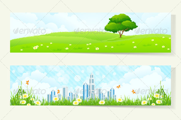 GraphicRiver Two Horizontal Banners with Nature and City 7086337