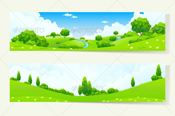 GraphicRiver Two Horizontal Banners with Nature Landscape 7086338