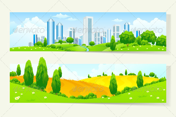 GraphicRiver Two Horizontal Banners with Nature and City 7086342