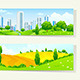 Two Horizontal Banners with Nature and City
