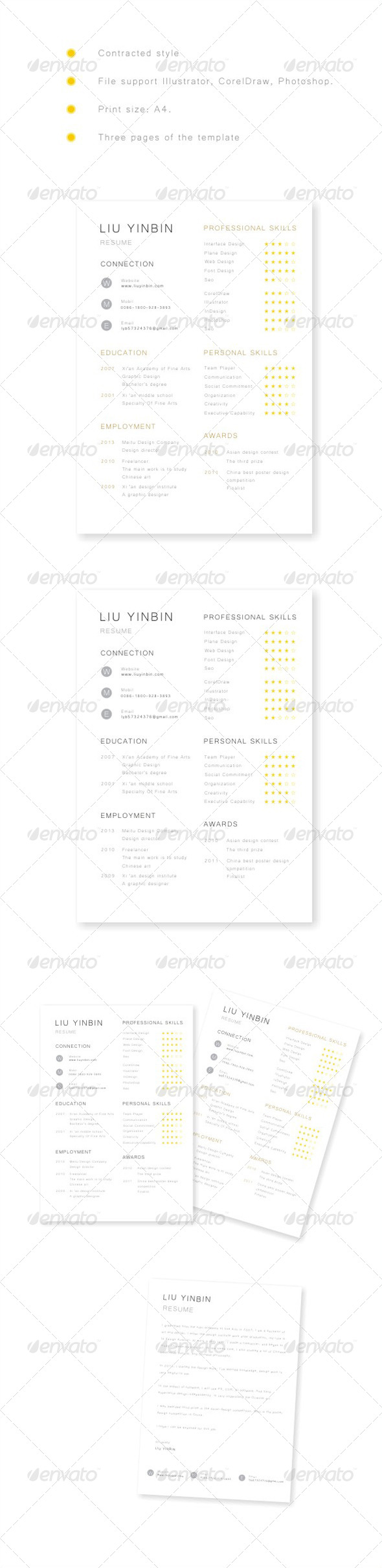 GraphicRiver Contracted Style of Resume Set 6964168