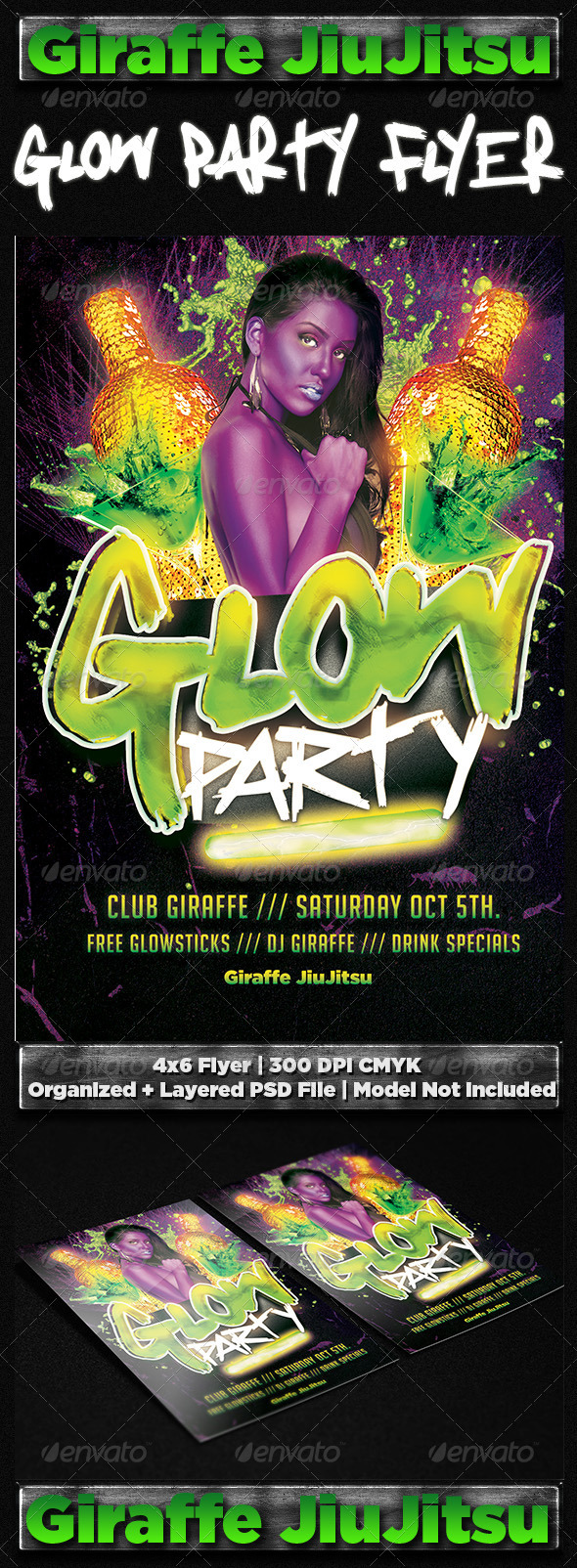 GraphicRiver Glow Party Flyer Template 7086997