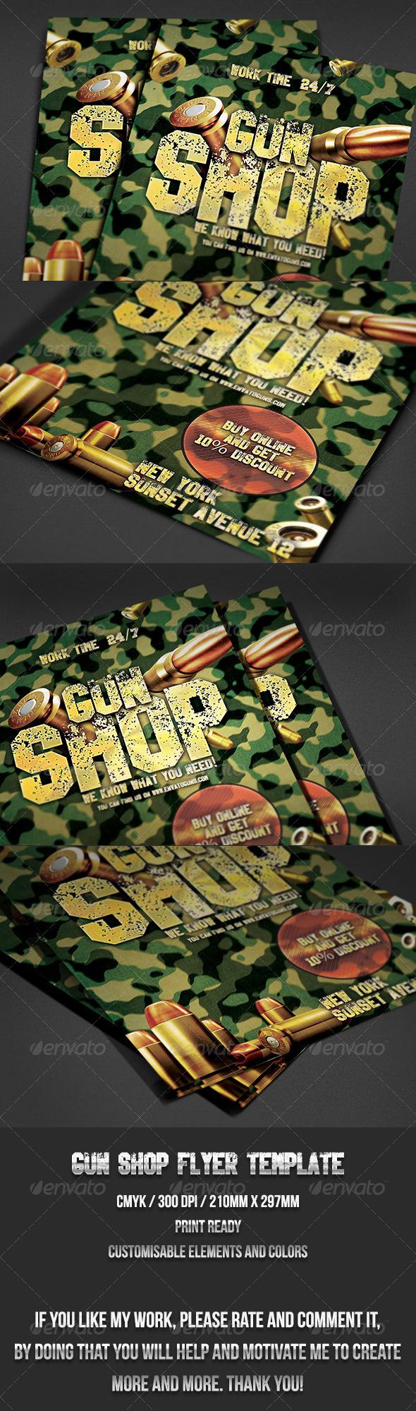 GraphicRiver Gun Shop Flyer Template 7087001