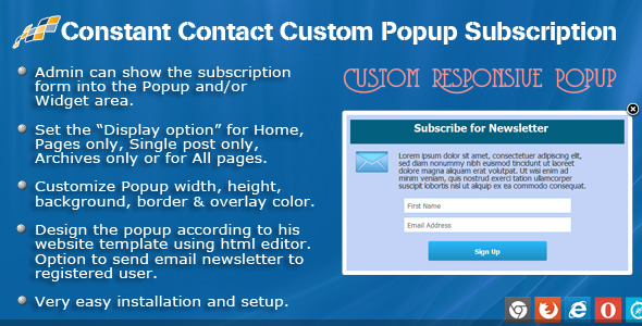 If this plugin is useful, could you please help us to rate it? it will be a big encouragement to improve for us. Constant Contact Custom Popup Subscription for