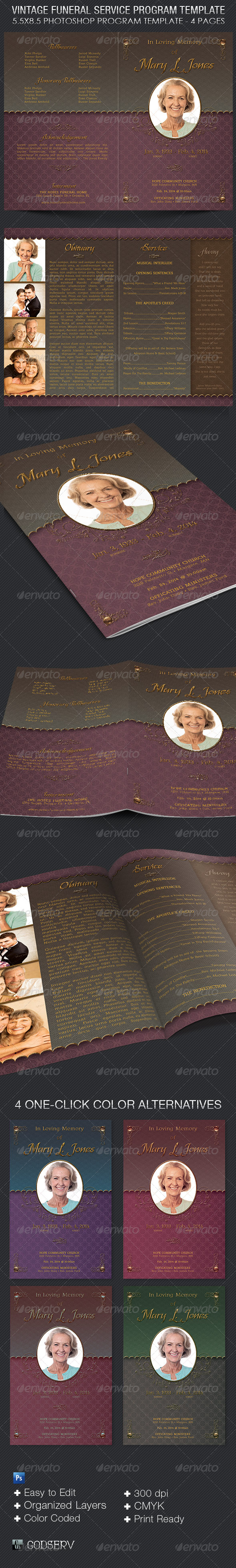 GraphicRiver Vintage Funeral Service Program Template 7087255