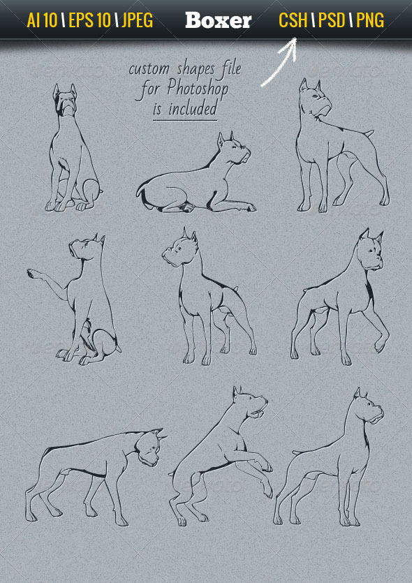GraphicRiver Dog Set Boxer 7087423
