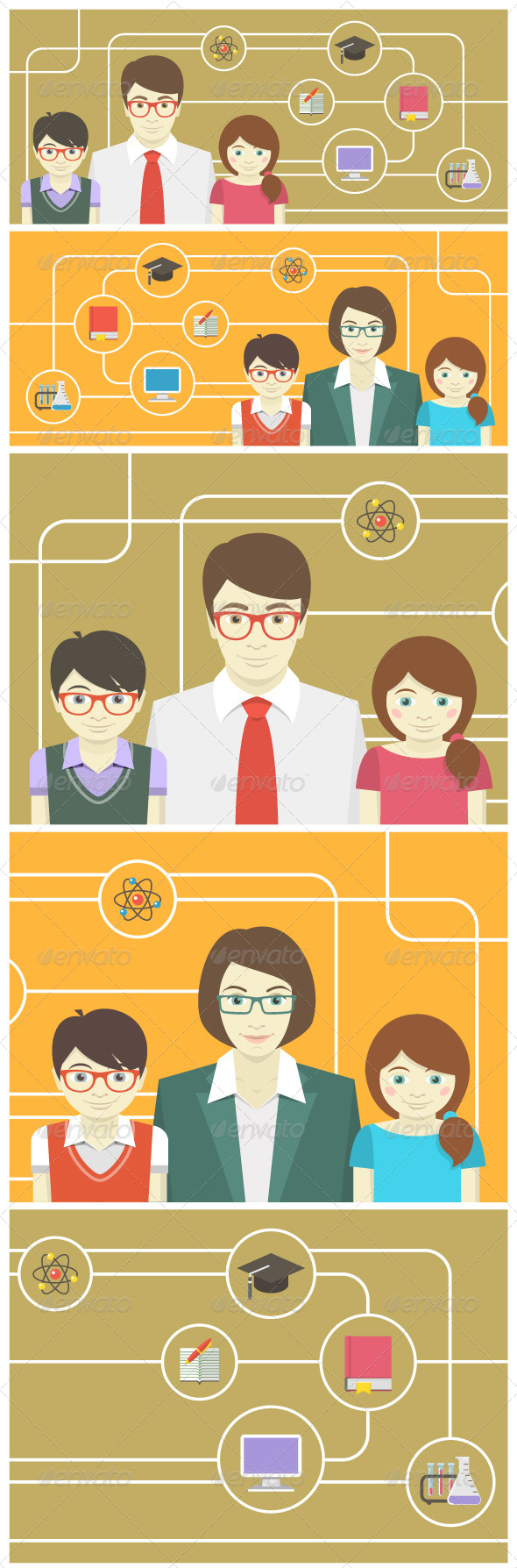 GraphicRiver Teacher and Pupils Horizontal Banners 7087639