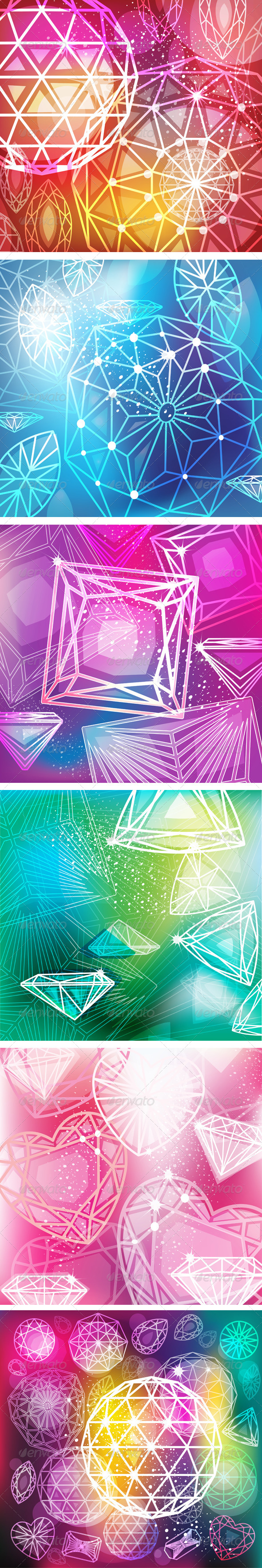 GraphicRiver Set of Backgrounds with Linear Diamonds Cutting 7087886