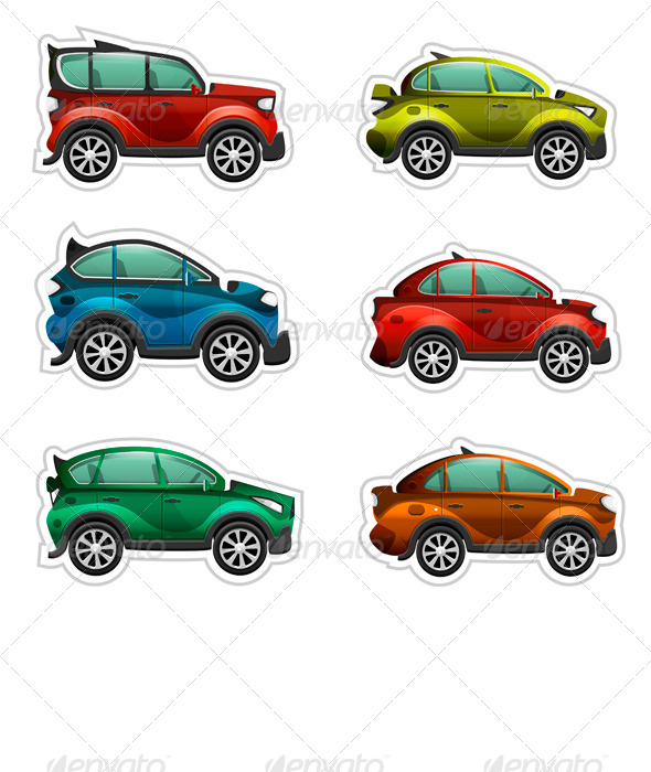 GraphicRiver Toy Cars Stickers 7088084