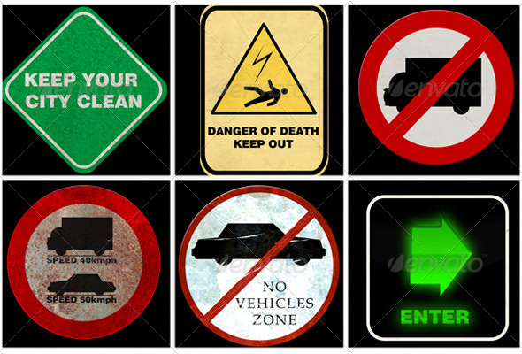 75 Traffic Signs Textures