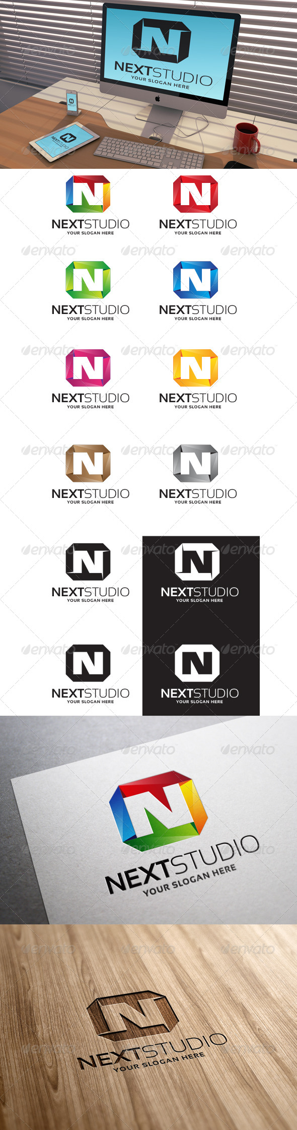 GraphicRiver Next Studio Letter N Logo Template 7088974