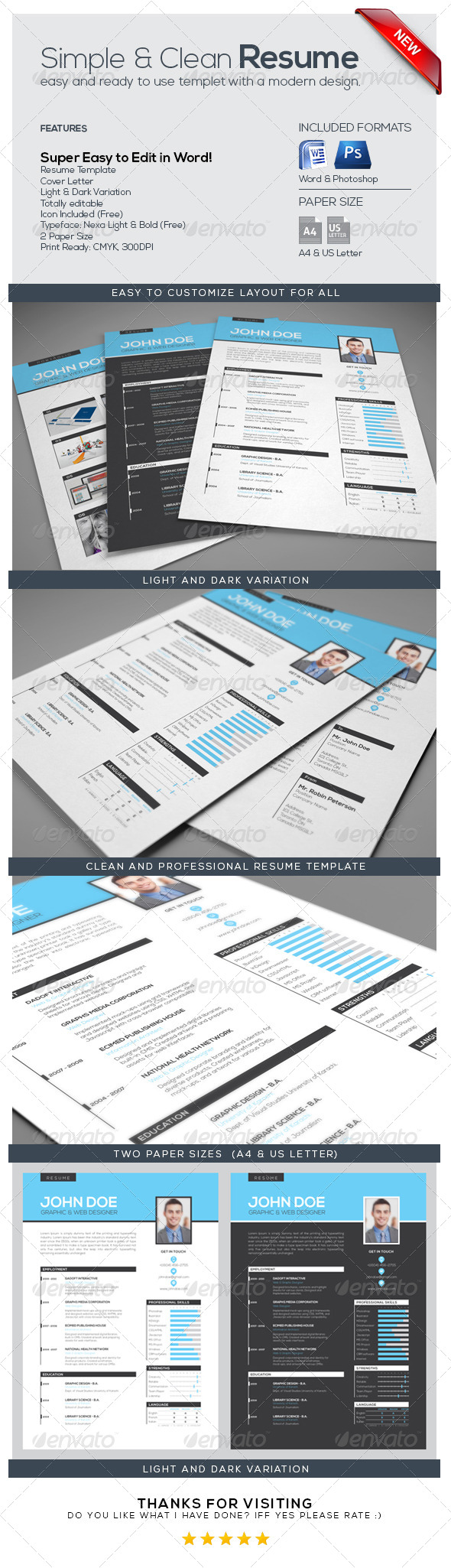 GraphicRiver Simple & Clean Resume CV 7089050