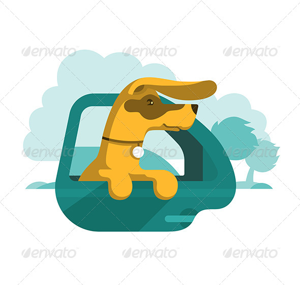 GraphicRiver Dog Looking Out of Car Window 7089053